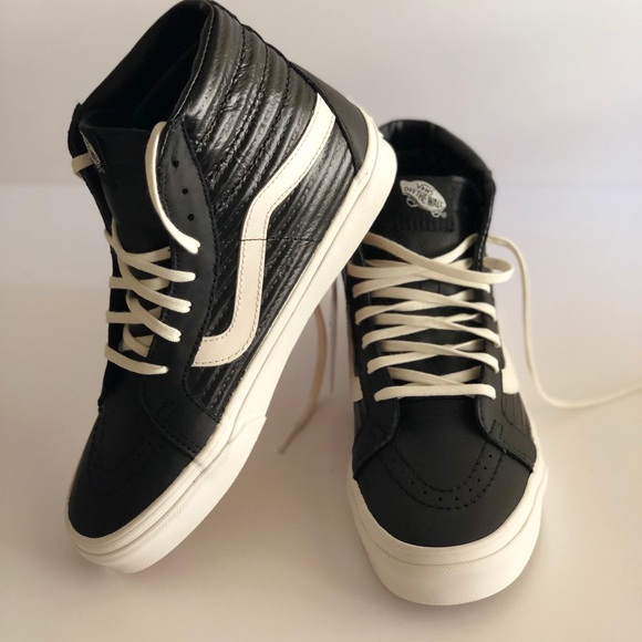 de8228633694 Vans Shoes | Sk8hi Reissue Moto Leather Black Sneakers | Poshmark